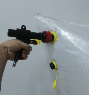 Fast deflation gun air inflator for dunnage bag ( less than 60s for 116x120cm bag)